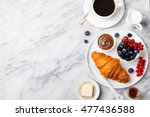 croissant  with fresh berries ... | Shutterstock . vector #477436588