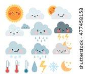 cute cartoon set with weather... | Shutterstock .eps vector #477458158