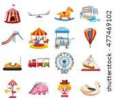 Amusement Park Icons Set In...