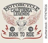 motorcycle racing typography... | Shutterstock . vector #477474016