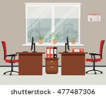 workplace for two office... | Shutterstock .eps vector #477487306