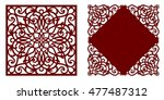greeting card  laser cut pattern | Shutterstock .eps vector #477487312