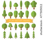tree icon flat set . nature... | Shutterstock . vector #477505012
