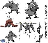 funny cartoon crow in different ... | Shutterstock .eps vector #477506785