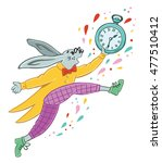 Stock vector the white rabbit runs with a watch in his hand character 477510412