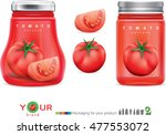 glass jar with red tomato paste ... | Shutterstock .eps vector #477553072