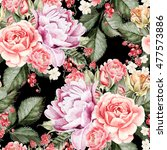 watercolor pattern with peony... | Shutterstock . vector #477573886