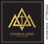 church logo. christian symbols. ... | Shutterstock .eps vector #477585262