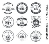 set of retro farm fresh labels  ... | Shutterstock . vector #477587068