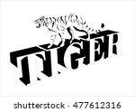 tiger monochrome vector logo... | Shutterstock .eps vector #477612316