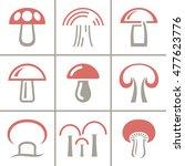 vector mushroom icon  logo set. ... | Shutterstock .eps vector #477623776
