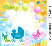 baby boy in blue carriage | Shutterstock .eps vector #47762545