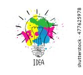light bulb sketch with concept... | Shutterstock .eps vector #477625978