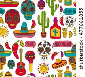 vector set of mexican icons... | Shutterstock .eps vector #477661855