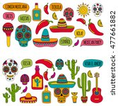 vector set of mexican icons... | Shutterstock .eps vector #477661882