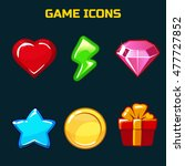 cartoon icons set for game user ...