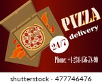 banner of pizza delivery with... | Shutterstock .eps vector #477746476