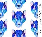 cosmic polygonal tiger. hand... | Shutterstock . vector #477751342