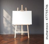 Easel And Blank White Canvas I...
