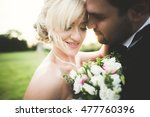 lovely wedding couple  bride... | Shutterstock . vector #477760396