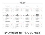 calendar for 2017 year isolated ... | Shutterstock . vector #477807586