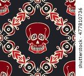 victorian gothic skull vector... | Shutterstock .eps vector #477810736