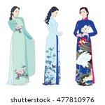 three beautiful young women... | Shutterstock .eps vector #477810976
