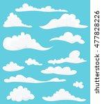cartoon set of cute clouds on...
