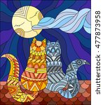 a couple of cats in stained... | Shutterstock .eps vector #477873958