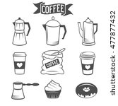 set of coffee icons isolated... | Shutterstock . vector #477877432