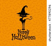 black cat and happy halloween... | Shutterstock .eps vector #477890296