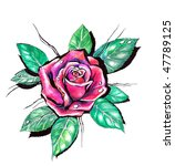 picture of red rose hand... | Shutterstock . vector #47789125