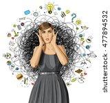 vector girl in dress  surprised ... | Shutterstock .eps vector #477894532