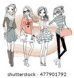 cute cartoon hipster girls | Shutterstock .eps vector #477901792