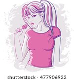 girl with long hairs with a... | Shutterstock .eps vector #477906922