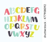 vector cartoon alphabet white... | Shutterstock .eps vector #477908092