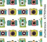 photo cameras pattern. vector... | Shutterstock .eps vector #477909466