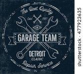 garage service vintage tee...   Shutterstock .eps vector #477923635