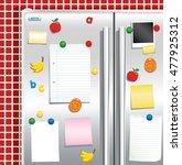 fridge freezer door with...   Shutterstock .eps vector #477925312