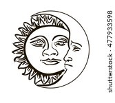 sun and month emblem isolated... | Shutterstock . vector #477933598