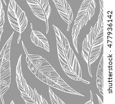hand drawn doodle feathers... | Shutterstock .eps vector #477936142