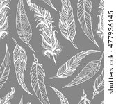 hand drawn doodle feathers... | Shutterstock .eps vector #477936145