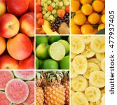 colorful fruit collage  fresh... | Shutterstock . vector #477937405