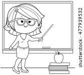 teacher teaching at class... | Shutterstock .eps vector #477939532