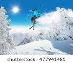 Skier At Jump In Alpine...