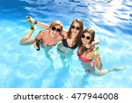 group of three young attractive ... | Shutterstock . vector #477944008