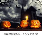 scary halloween pumpkins with... | Shutterstock . vector #477944572