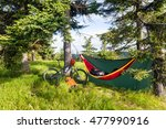 camping in woods with hammock... | Shutterstock . vector #477990916