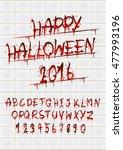 vector blood alphabet is... | Shutterstock .eps vector #477993196