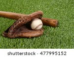 baseball bat with glove and ball | Shutterstock . vector #477995152